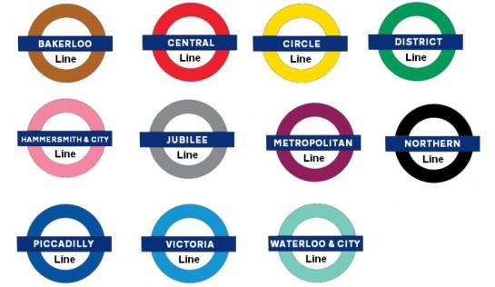 London metróhálózatának vonalai színekkel megkülönböztetve