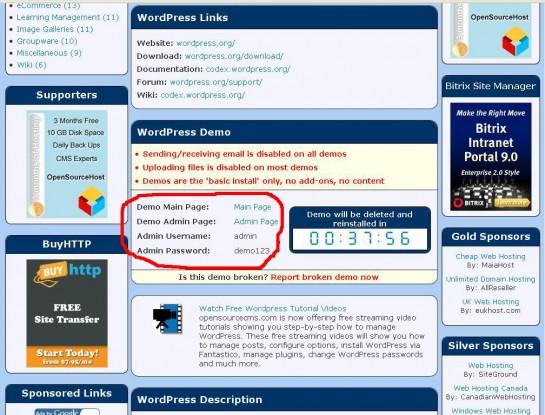 Wordpress kipróbálható demo