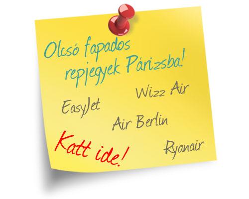 Olcsó fapados repülőjegy Párizsba - Wizz Air, easyJet, Ryanair