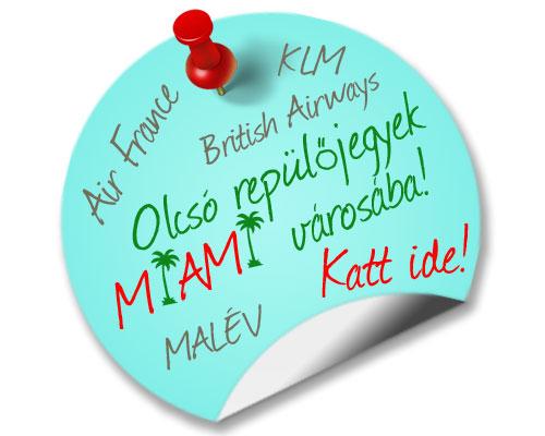 Olcsó repülőjegyek Miami városába - British Airways, Air France, KLM