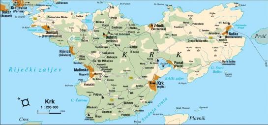 Horvátország, Krk sziget térkép