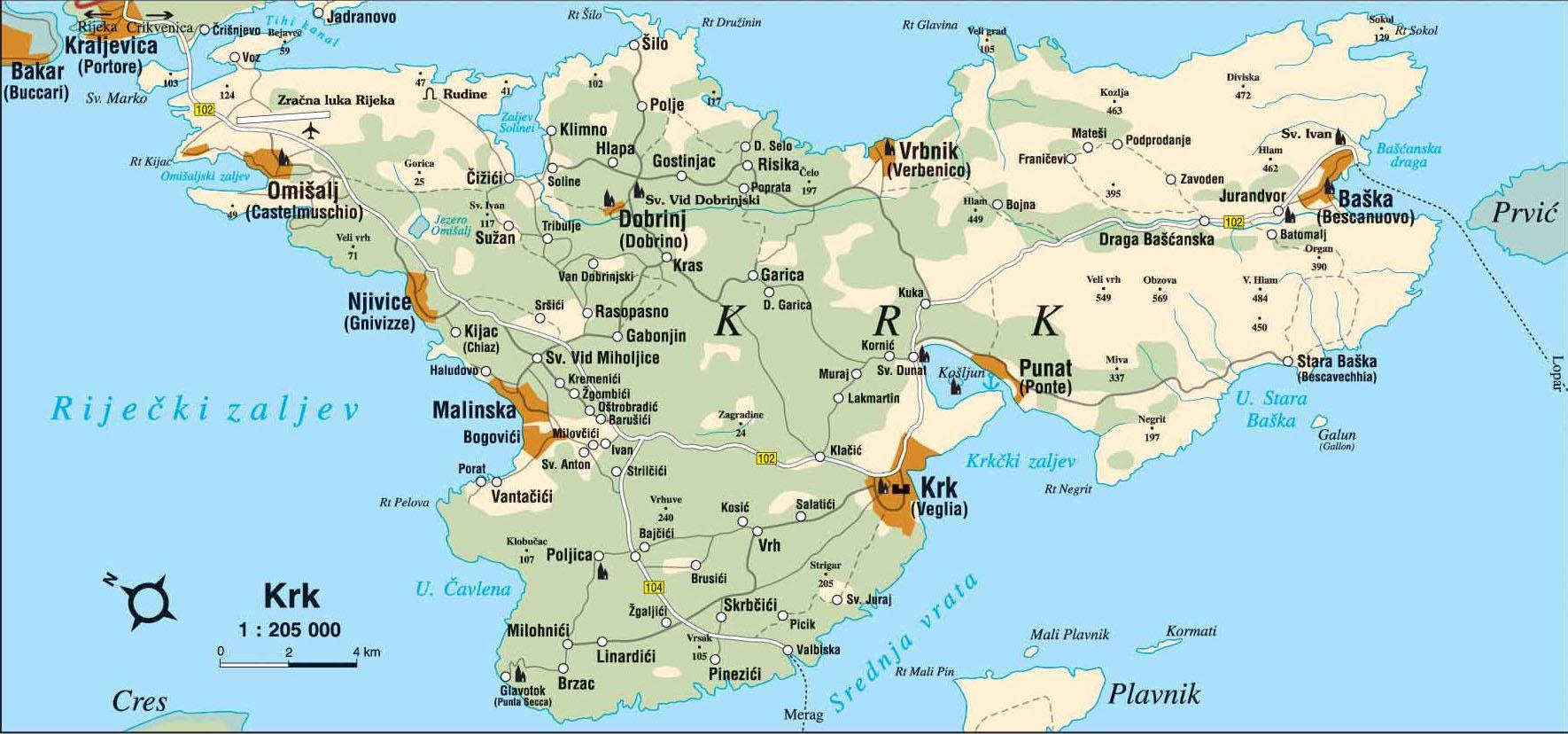 krk sziget térkép Krk sziget, Krk, Baška, Malinska, Horvátország, Szállás, Apartman  krk sziget térkép