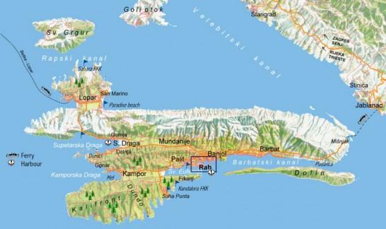 Rab sziget térkép - Rab Island map