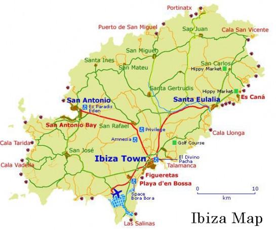 Spanyolország, Ibiza térkép - Ibiza map