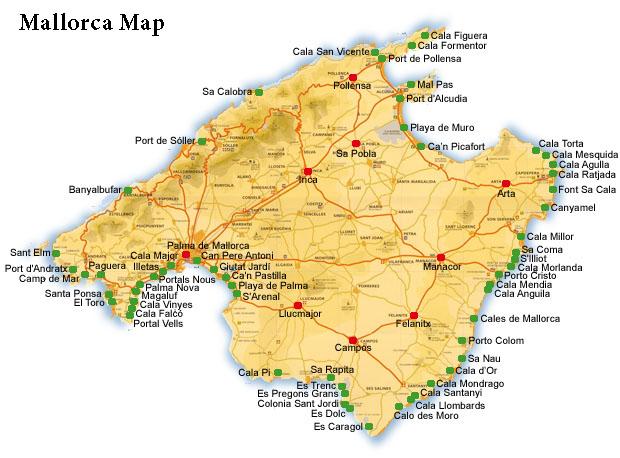 mallorca térkép Mallorca, Spanyolország, Mallorca nyaralás, Utazás, Időjárás  mallorca térkép